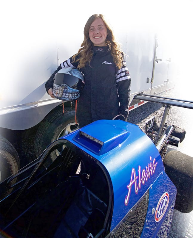 Alexis has been around the race track since she was little and jump  in her first dragster at 10 years old.