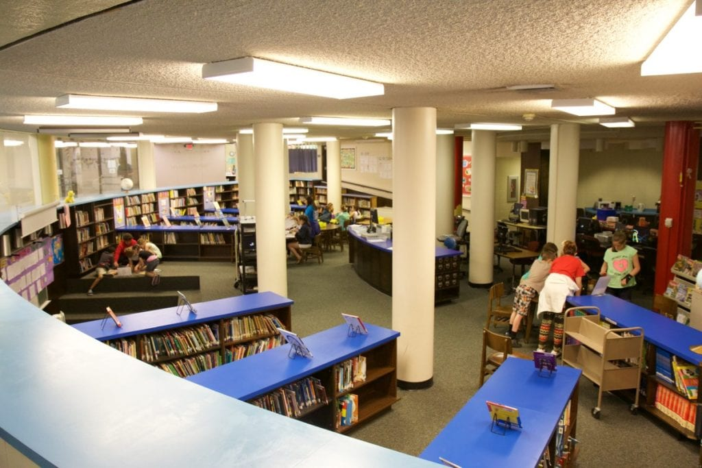 The library is housed in one of the round rooms that sits inside of the circle and falls victim to a lot of foot traffic throughout the day.