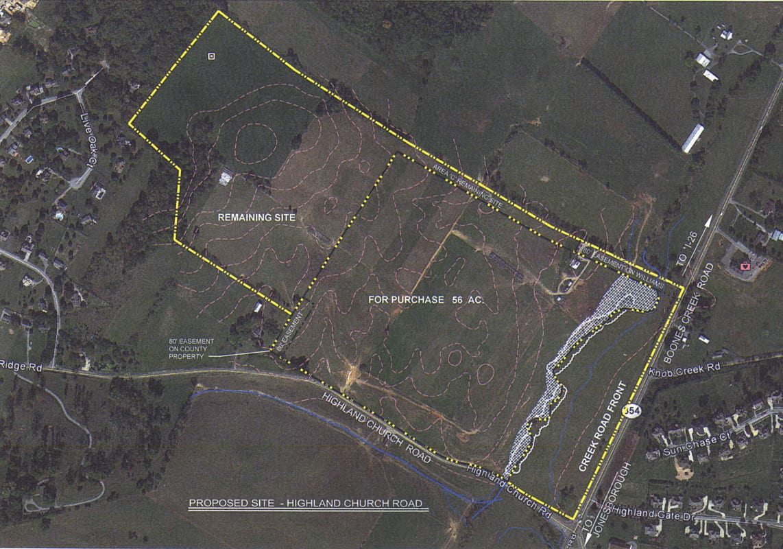 Outlined in the black and yellow dotted line is the property that Washington County currently has a purchase agreement on.