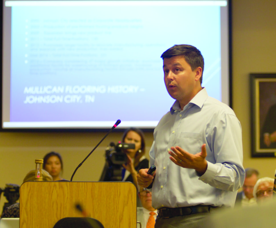 Washington County Economic Development Council CEO Mitch Meredith helped give the presentation of the Mullican Flooring package during the Washington County Commissioners July meeting on Monday night at the George Jaynes Justice Center.