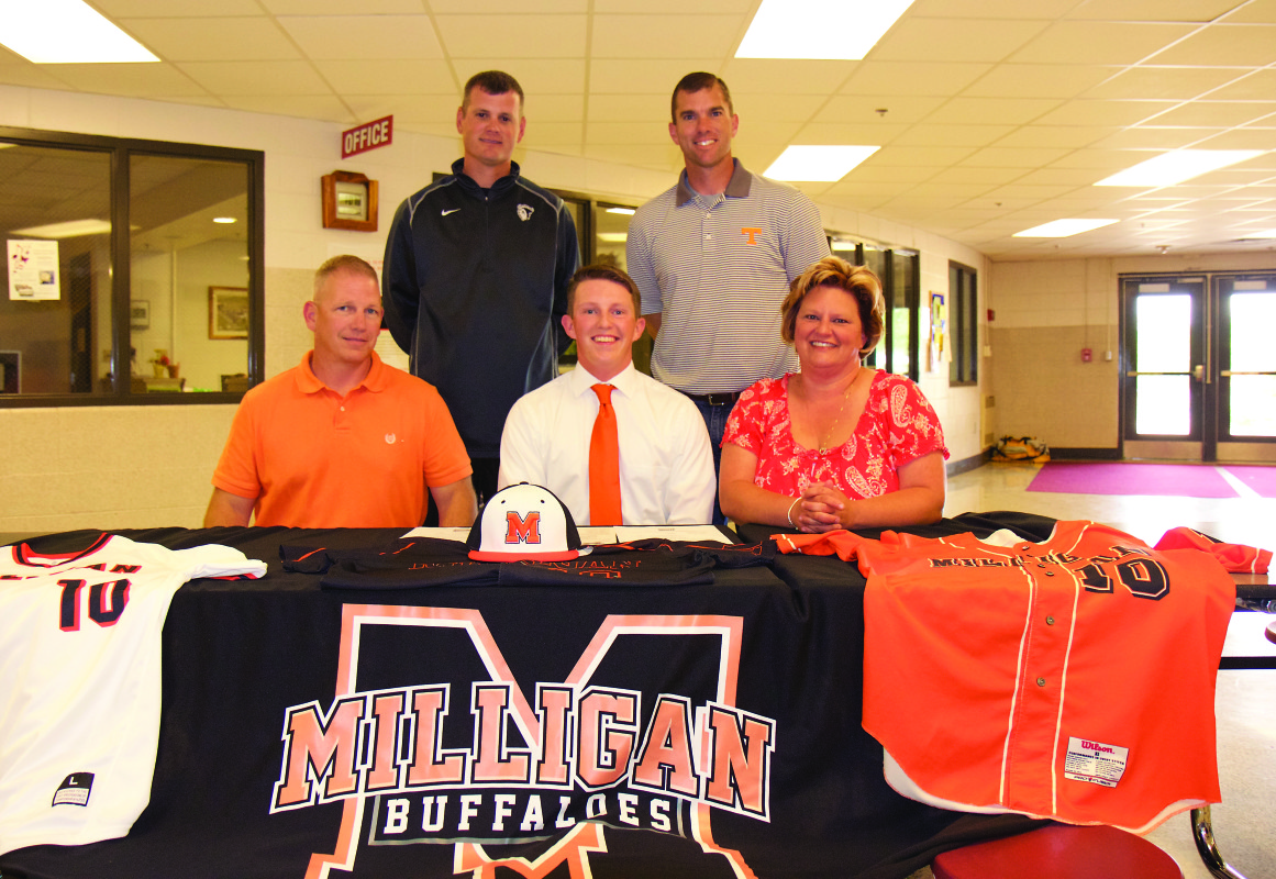Daniel Boone's Tyler DePriest signed with Milligan College for baseball. He is joined by front row, left to right: father, Scott; mother, Aimee. Back row, left to right; Milligan baseball coach Nathan Meade and Daniel Boone baseball coach Rob Hoover.