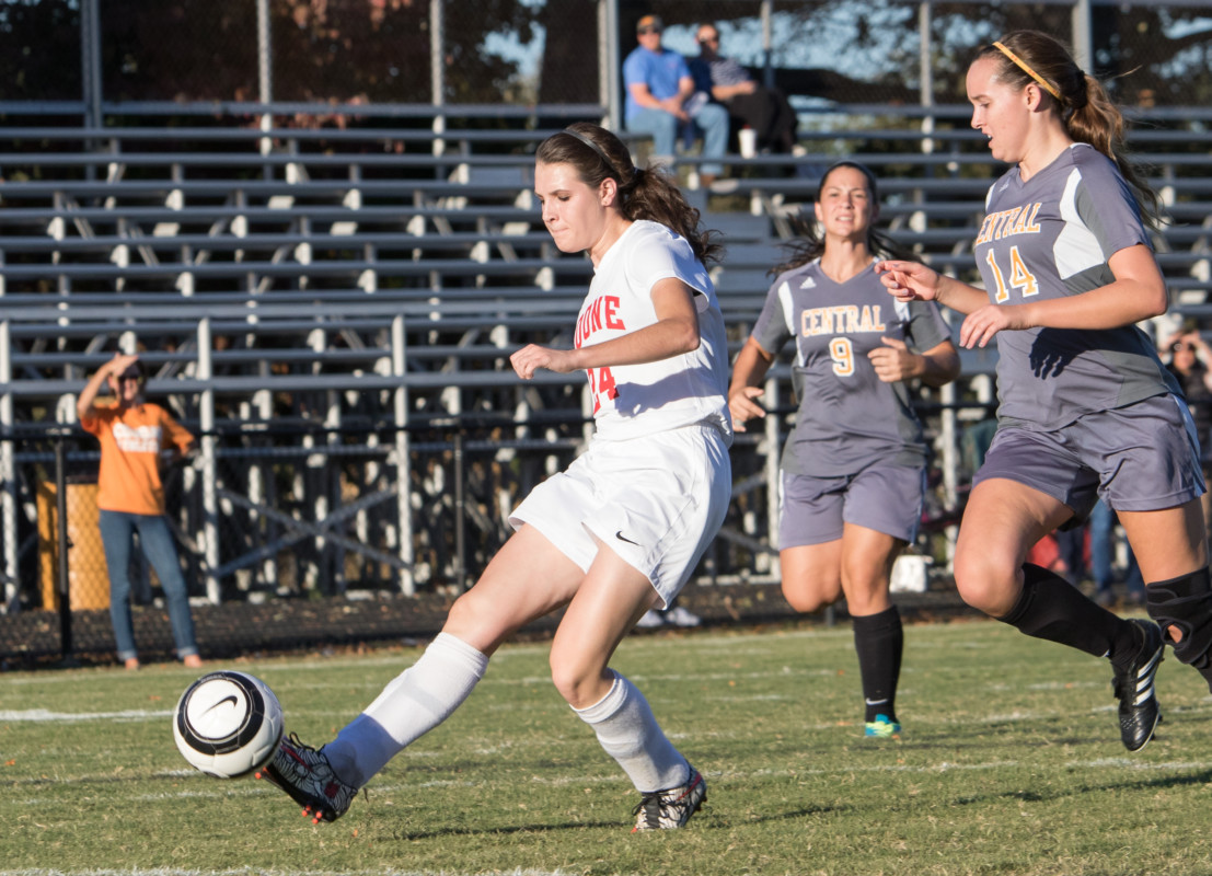 Emily Sizemore delivers the Lady Blazers their first goal during the Lady Blazers 2-0 win on Monday.