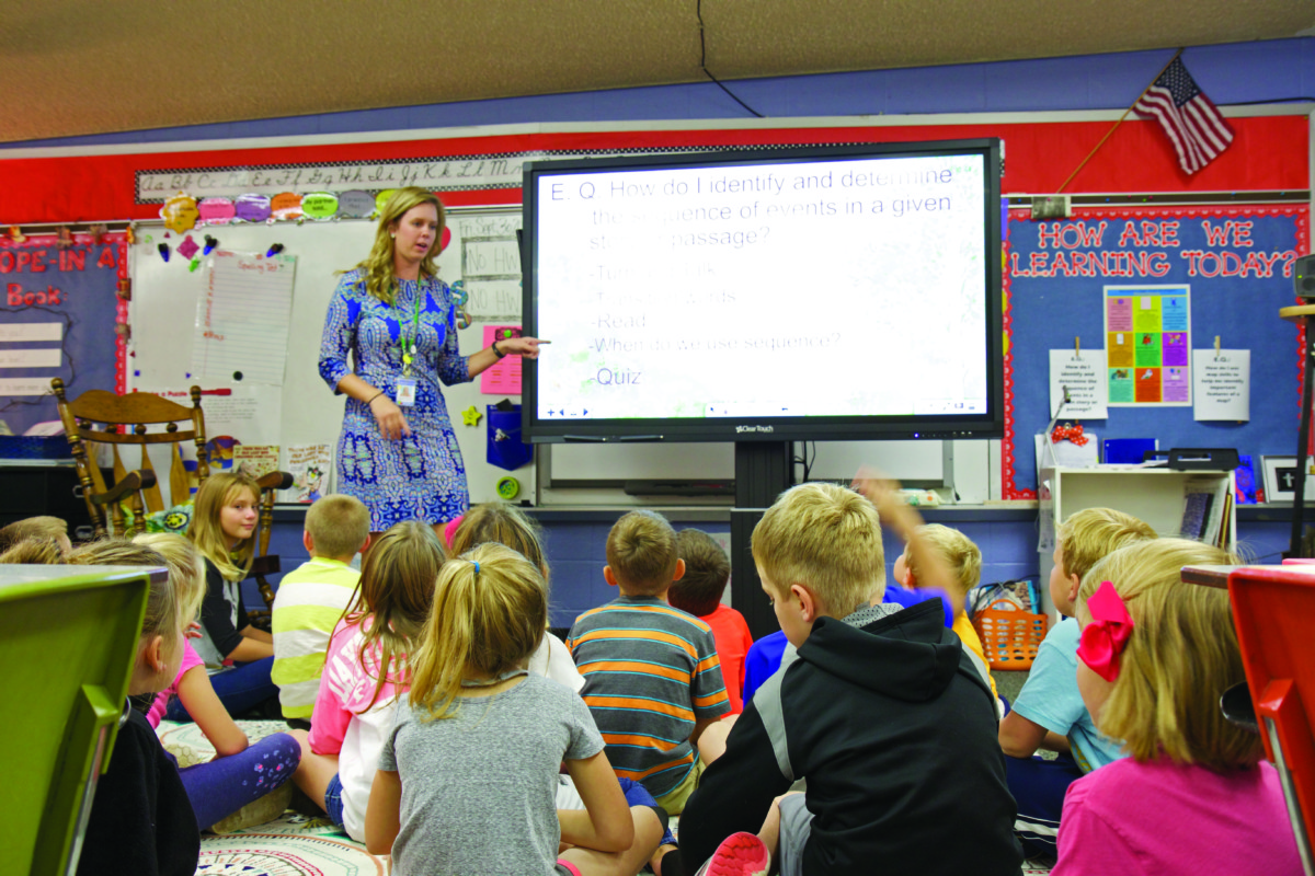 Meredith Redman, a  3rd grade teacher at Jonesborough uses her ClearTouch Panel to teach in her classroom.