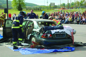 The Prom Promise will feature a mock car crash, like the one  pictured above, to show students the dangers of drinking and  driving during the prom season.